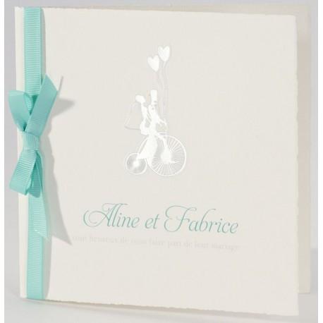 Faire-part mariage vintage argenture ruban vert Buromac La Vie en Rose 106.106