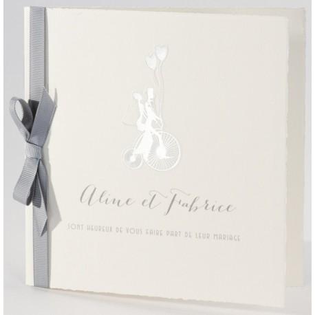 Faire-part mariage vintage argenture ruban gris Buromac La Vie en Rose 106.107