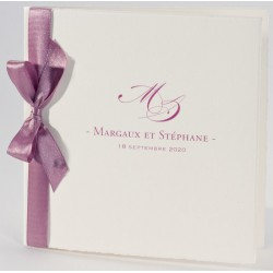 Faire-part mariage vintage ruban rose Buromac La Vie en Rose 106.102