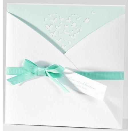 Faire-part mariage chic pochette papillons verts Buromac La Vie en Rose 106.073