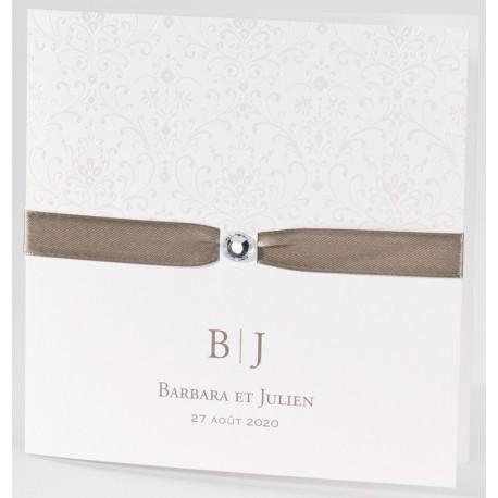 Faire-part mariage blanc arabesque strass ruban Buromac La Vie en Rose 106.016