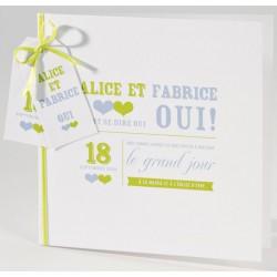 Faire-part mariage original vert personnalisable Buromac La Vie en Rose 106.083