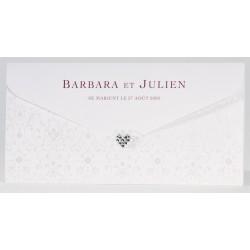 Faire-part mariage chic triptyque coeur strass Buromac La Vie en Rose 106.002