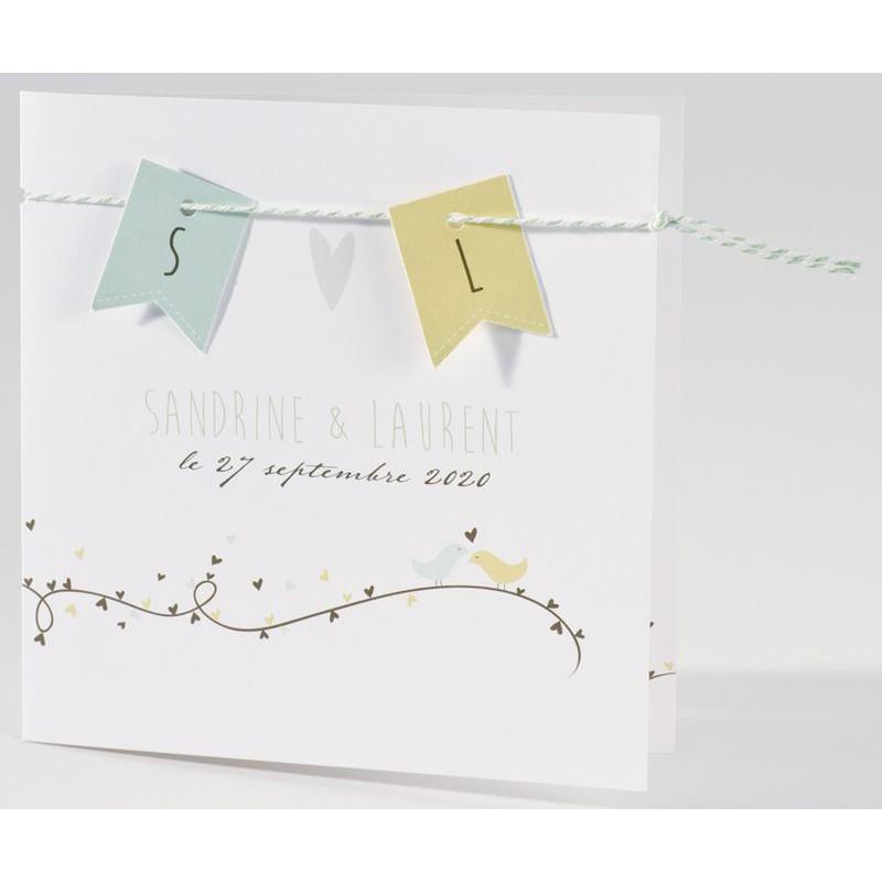 faire part mariage original oiseaux vert marron buromac la vie en rose. Black Bedroom Furniture Sets. Home Design Ideas