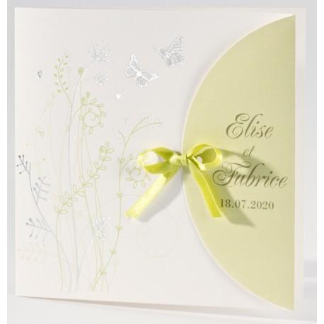 Faire-part mariage chic nature papillon argent Buromac La Vie en Rose 106.070