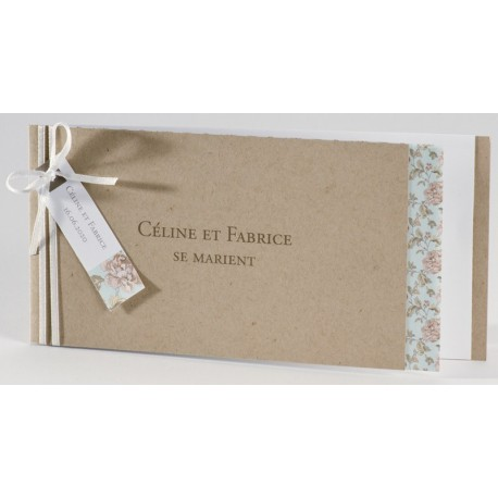 Faire-part mariage écologique fleur vintage Buromac La Vie en Rose 106.026