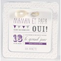 Faire-part mariage crème fleurs mauves ballon Buromac La Vie en Rose 106.094