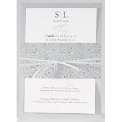 Faire-part mariage chic gris fleur argenture Buromac La Vie en Rose 106.033