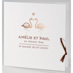 Faire-part mariage classique flamans roses dorure Buromac La Vie en Rose 106.046