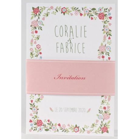 Faire-part mariage vintage nature fleur rose Buromac La Vie en Rose 106.029