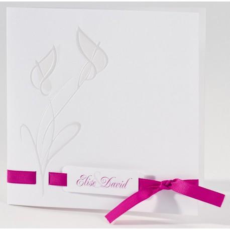Faire-part mariage classique fleur nacre ruban fuchsia Buromac La Vie en Rose 106.047