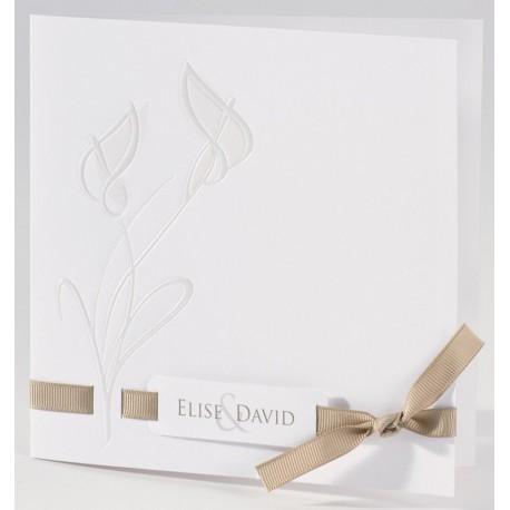 Faire-part mariage classique fleur nacre ruban beige Buromac La Vie en Rose 106.049