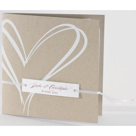 Faire-part mariage écologique coeur blanc Buromac La Vie en Rose 106.112