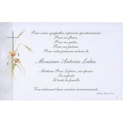 Carte de remerciement décés, deuil, funérailles, condoléances, obsèques BUROMAC 670.090