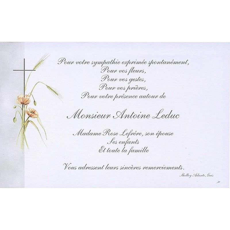 Gut gemocht Carte de remerciement décès, deuil, funérailles, condoléances  WP53