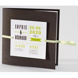 Faire-part mariage original bois ruban vert Buromac La Vie en Rose 106.098