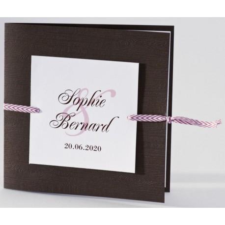 Faire-part mariage original bois ruban rose Buromac La Vie en Rose 106.099