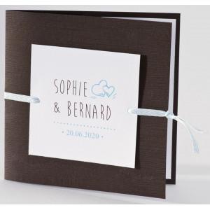 Faire-part mariage original bois ruban bleu Buromac La Vie en Rose 106.101