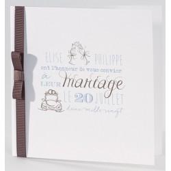 Faire-part mariage classique blanc ruban marron Buromac La Vie en Rose 106.081