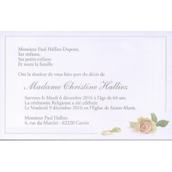 Carte de remerciement décès, deuil, funérailles, condoléances, obsèques  BUROMAC 670.134