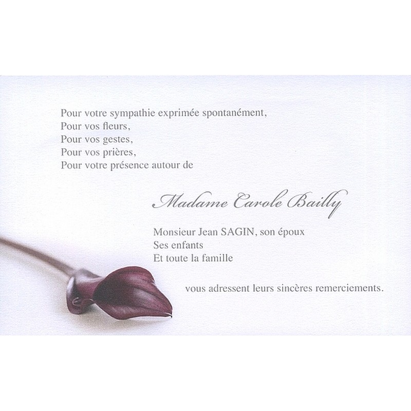 Bevorzugt de remerciement décès, deuil, funérailles, condoléances, obsèques  JV01