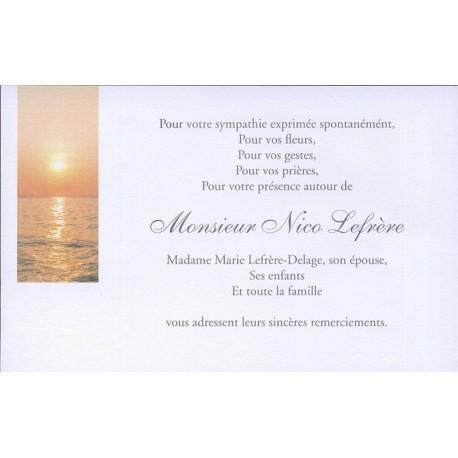 Carte de remerciement décès, deuil, funérailles, condoléances, obsèques BUROMAC 670.150
