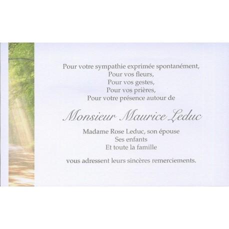 Carte de remerciement décès, deuil, funérailles, condoléances, obsèques BUROMAC 670.152