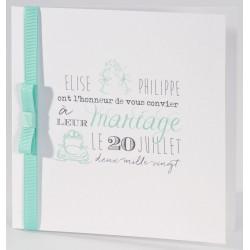 Faire-part mariage classique blanc ruban turquoise Buromac La Vie en Rose 106.080