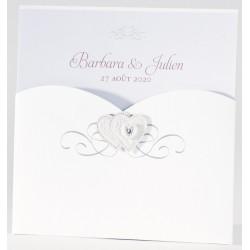 Faire-part mariage chic pochette coeur perle Buromac La Vie en Rose 106.001