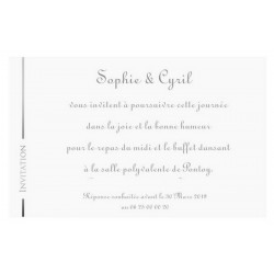 Carte invitation blanche argenture REGALB Toi&Moi 2018 KC4575