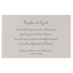 Carte lunch ou remerciements gris irisé REGALB Toi&Moi 2018 KD684