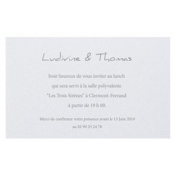 Carte lunch ou remerciements blanc irisé REGALB Toi&Moi 2018 KC115