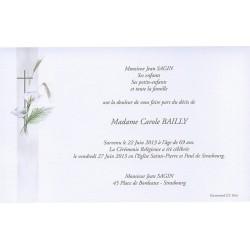 Carte de remerciement décés, deuil, funérailles, condoléances, obsèques BUROMAC 641.033