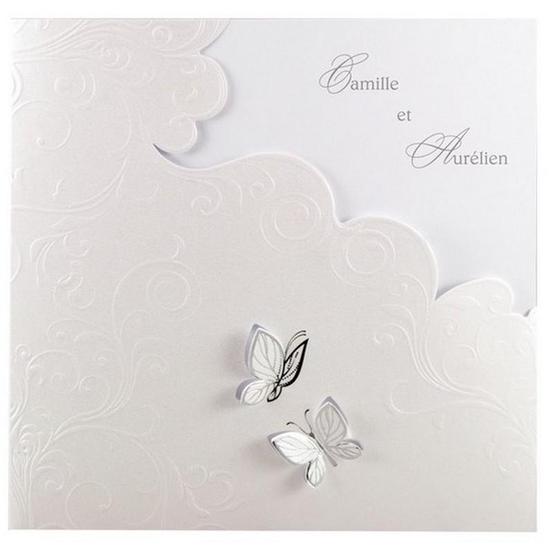 faire part mariage chic blanc papillon argent arabesque regalb jh3068. Black Bedroom Furniture Sets. Home Design Ideas