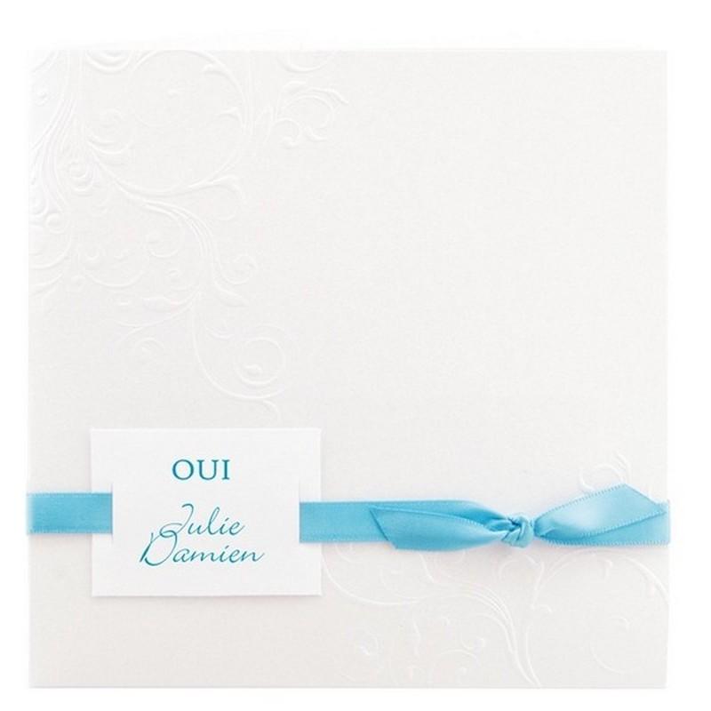faire part mariage l gant blanc arabesque ruban turquoise r galb toi moi 2018 jl115. Black Bedroom Furniture Sets. Home Design Ideas