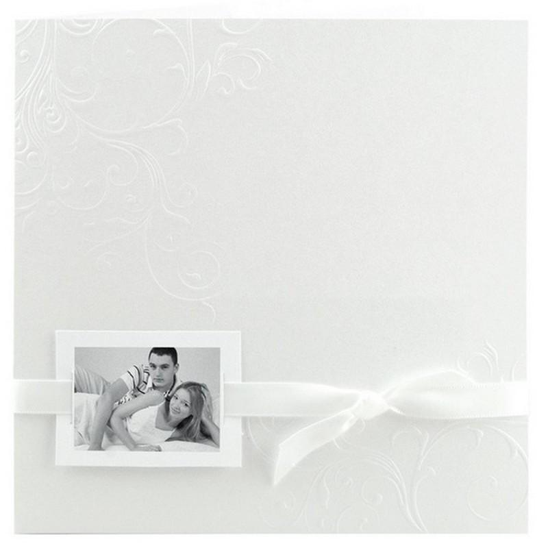 faire part mariage l gant blanc arabesque ruban blanc r galb toi moi 2018 jl218. Black Bedroom Furniture Sets. Home Design Ideas