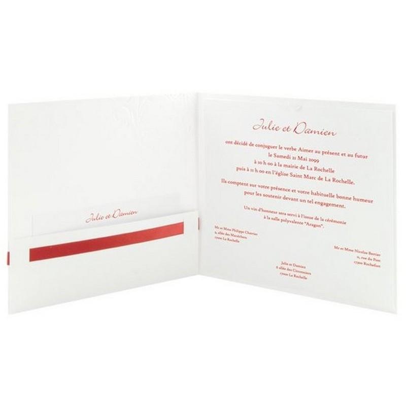 faire part mariage elegant blanc arabesque ruban rouge r galb toi moi 2018 jl226. Black Bedroom Furniture Sets. Home Design Ideas