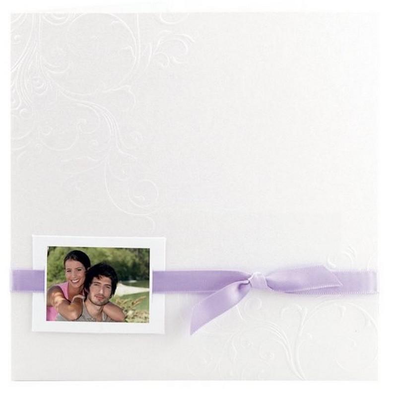 faire part mariage blanc arabesque ruban violet r galb toi. Black Bedroom Furniture Sets. Home Design Ideas