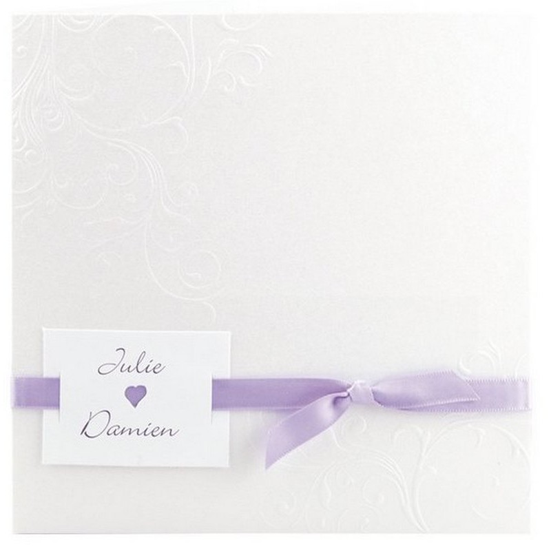 faire part mariage elegant blanc arabesque ruban violet. Black Bedroom Furniture Sets. Home Design Ideas