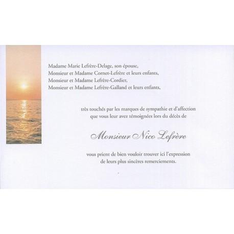 Carte de remerciement décés, deuil, funérailles, condoléances, obsèques BUROMAC 641.150
