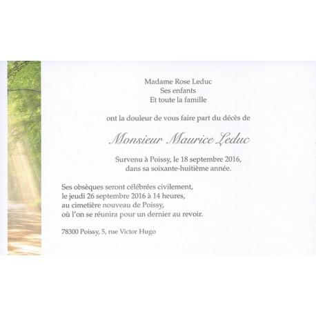 Carte de remerciement décés, deuil, funérailles, condoléances, obsèques BUROMAC 641.152