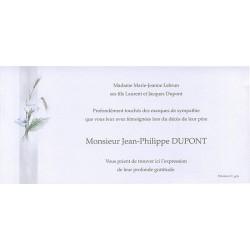 Carte de remerciement décés, deuil, funérailles, condoléances, obsèques BUROMAC 644.083