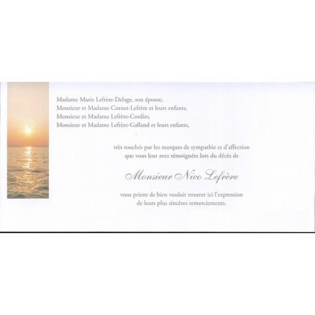 Carte de remerciement décès, deuil, funérailles, condoléances, obsèques BUROMAC 644.150
