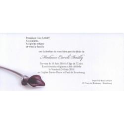 Carte de remerciement décès, deuil, funérailles, condoléances, obsèques BUROMAC 644.153