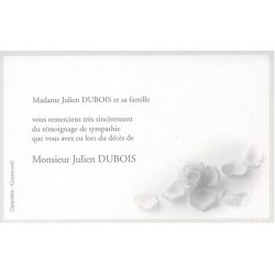 Carte de remerciement décés, deuil, funérailles, condoléances, obsèques DECORTE 6536