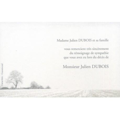 Carte de remerciement décés, deuil, funérailles, condoléances, obsèques DECORTE 6574