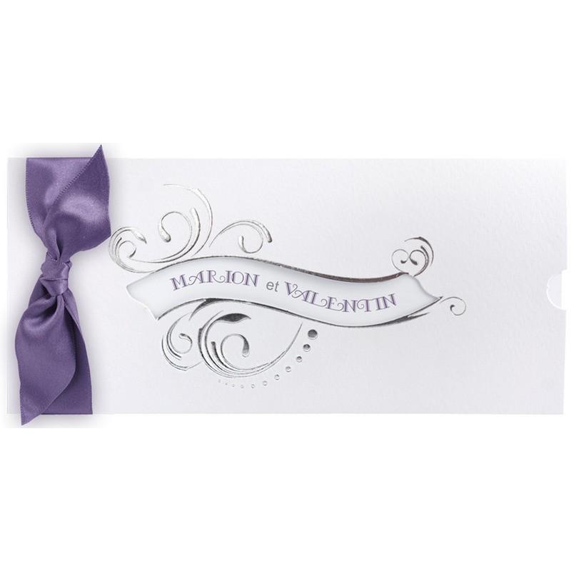 faire part mariage pochette blanc ruban violet regalb jm3326 mesfairepart c. Black Bedroom Furniture Sets. Home Design Ideas
