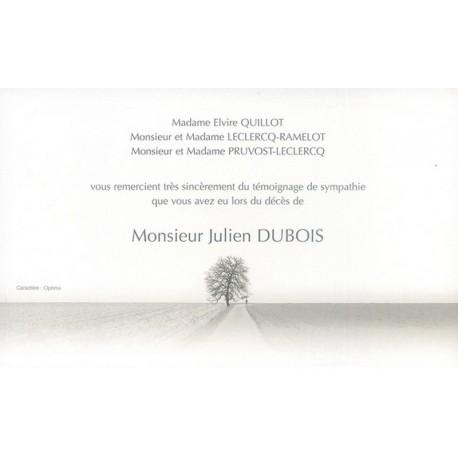 Carte de remerciement décés, deuil, funérailles, condoléances, obsèques DECORTE 6409