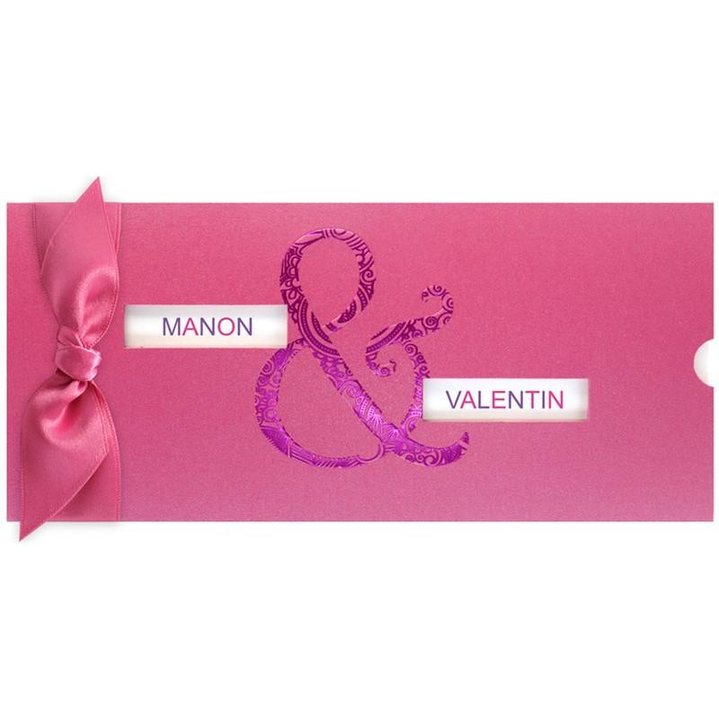 faire part mariage pochette ruban rose vernis violet regalb jv3311. Black Bedroom Furniture Sets. Home Design Ideas