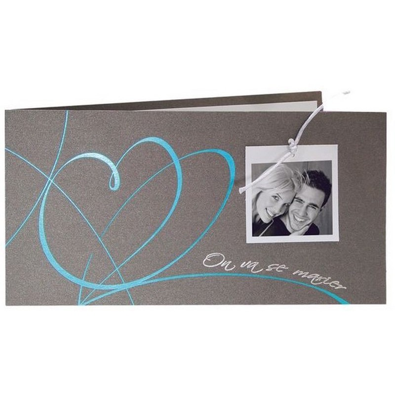 faire part mariage gris coeurs turquoise argenture r galb jr3100. Black Bedroom Furniture Sets. Home Design Ideas